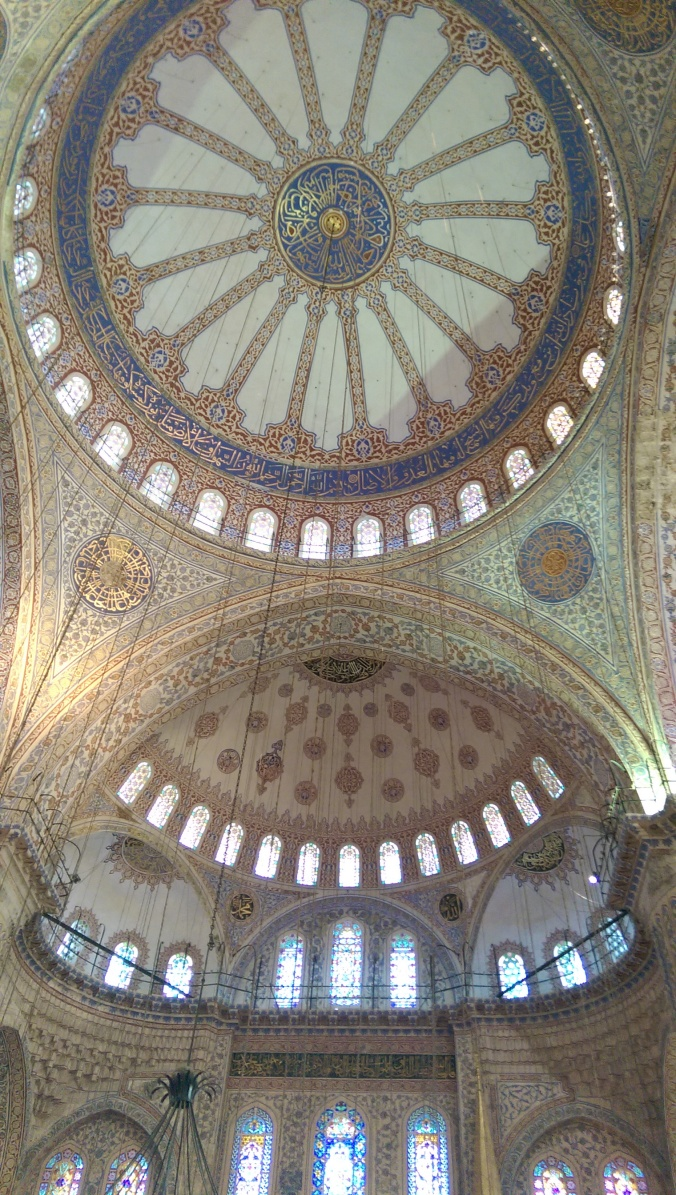Looking up at the dome of the Blue Mosque in Istanbul.