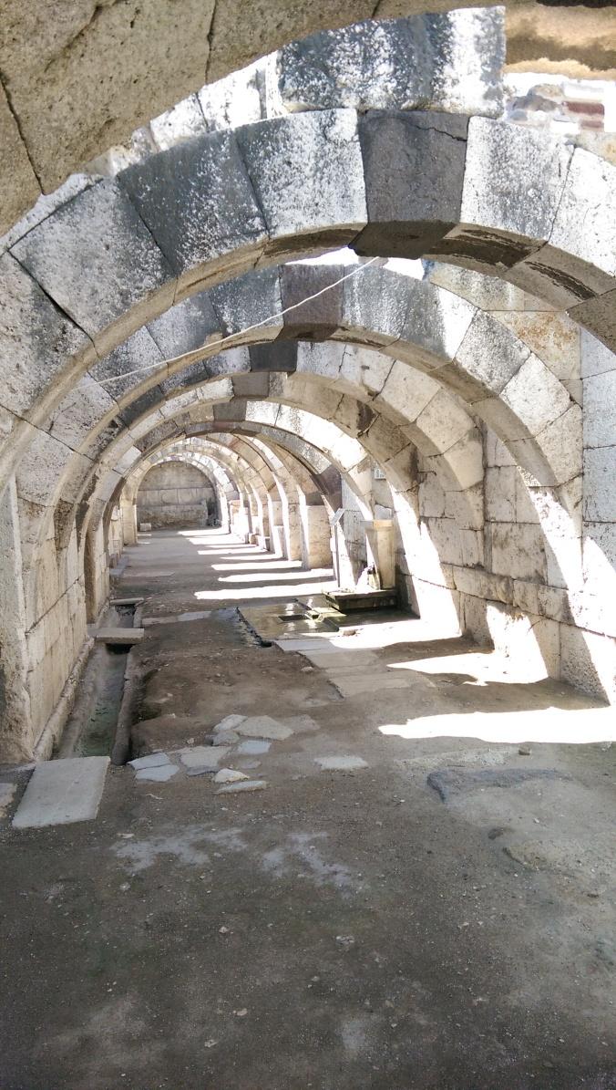 Passage ways under the Roman Forum. A pleasant haven from the oppressive heat.