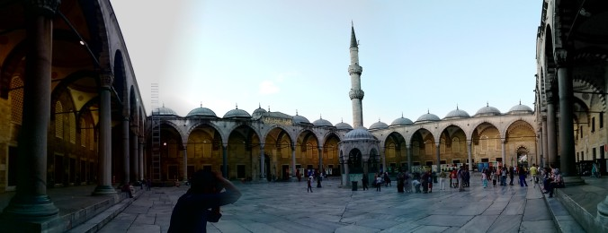 The header for my blog is the Blue Mosque. This is a picture showing the opposite view. Courtyard of the Blue Mosque.