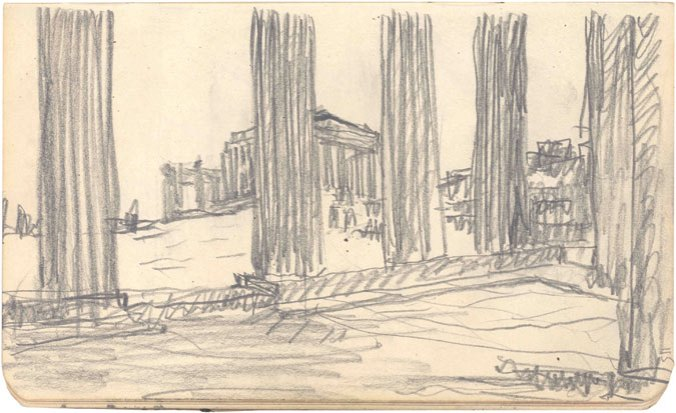 One of Corbu's sketches of the Acropolis