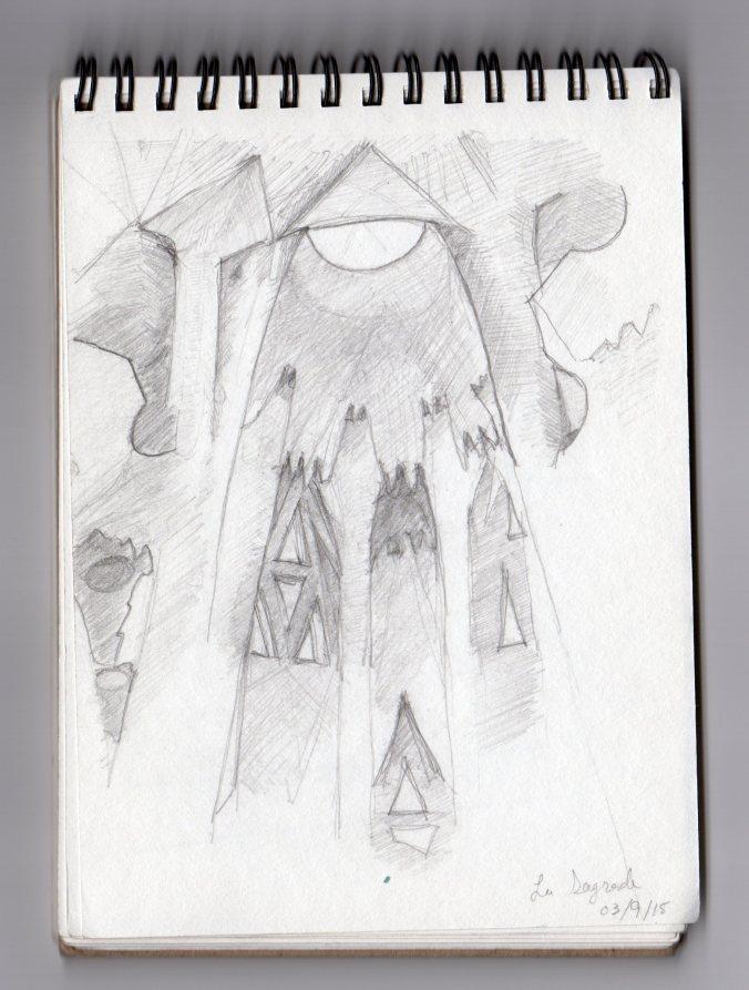 Interior sketch of the apse. La Sagrada.